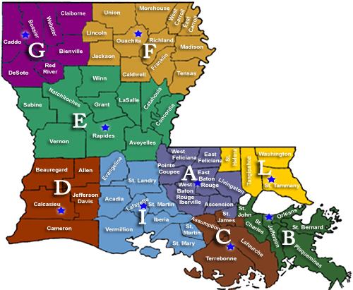 Current Map Of Louisiana.Louisiana State Police Troop Information